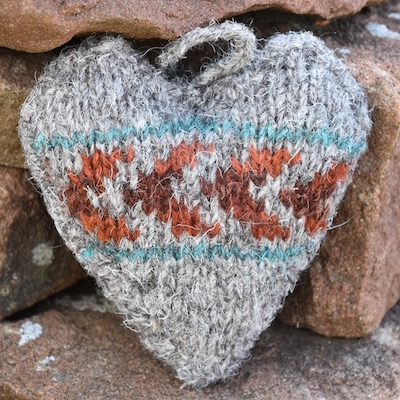 Fair Isle heart bauble