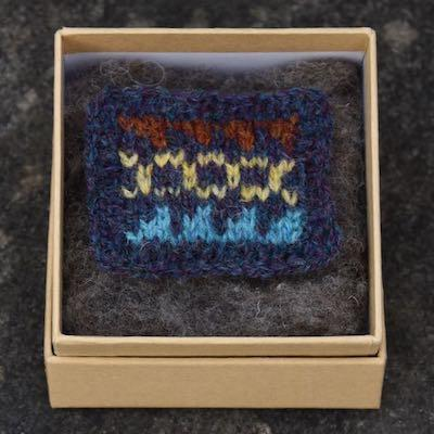 Fair Isle Pillow Brooch — Indigo