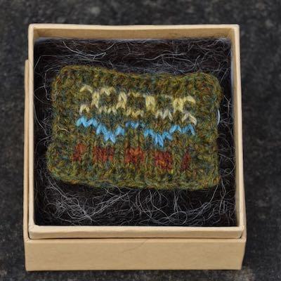 Fair Isle Pillow Brooch — Olive