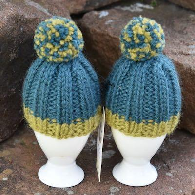 Egg Cosies — Bluefaced Leicester, Teal and Olive