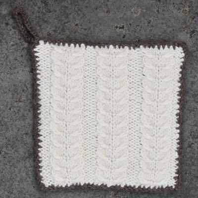 Pot Holder — Bluefaced Leicester, Ecru and Brown